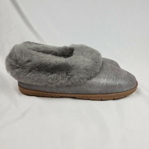 Lands End Suede Shearling Slipper Glitter Grey NWT